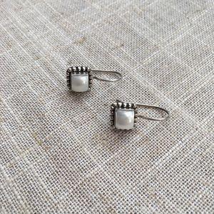 Silpada Pearl Button Frame Earrings